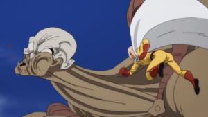 Saitama venciendo un Kaijin de un golpe